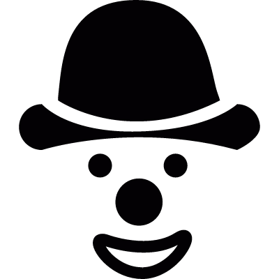 Face of clown with hat logo