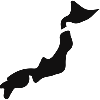Japan black country map shape vector