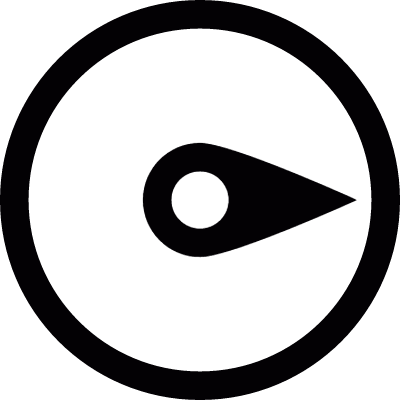 Needle compass pointing west logo