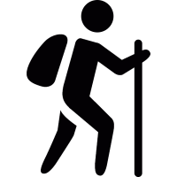 Man with bag and walking stick vector