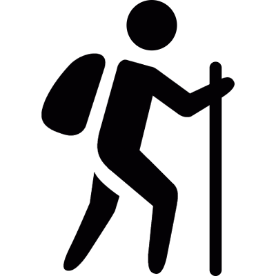 Man with bag and walking stick vector logo