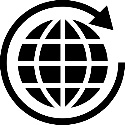 World grid with rotating arrow logo