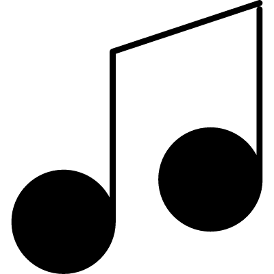 Musical note variant with thin outline logo
