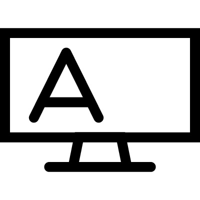 Blackboard outline with stand and letter A logo