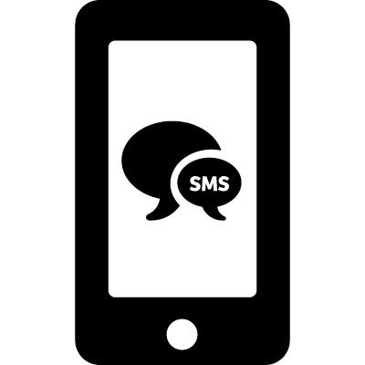 Sms bubbles symbol on phone screen logo