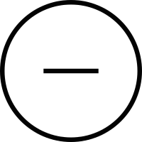 Minus sign in a circular button vector