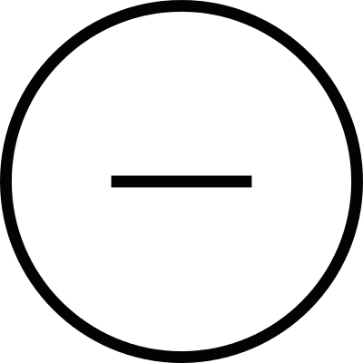 Minus sign in a circular button logo