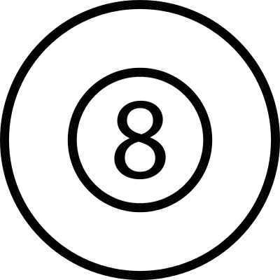 8 ball inside a circle vector logo