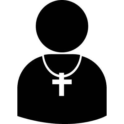 Pastor silhouette with cross vector logo