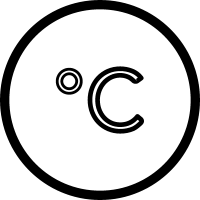 Celsius degrees sign in circle outline
