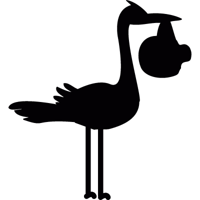 Stork with baby vector logo