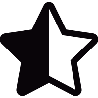 Half black and half white star shape