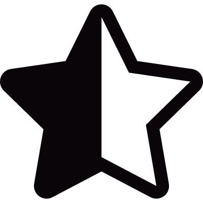 Half black and half white star shape logo