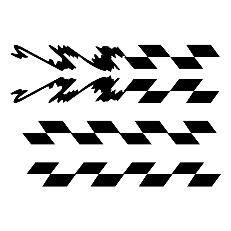 Checred stripe with jagged end vector logo