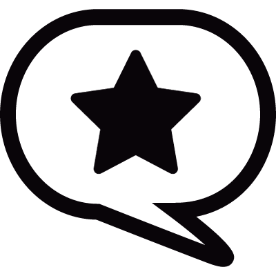 Speech bubble with star logo