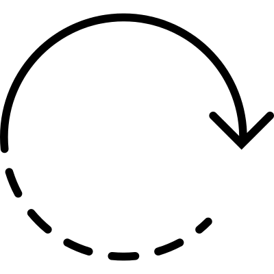 Rotating arrow with dotted lines logo