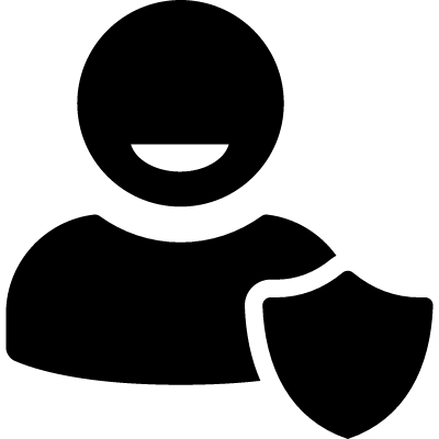 User protection symbol with a shield vector logo
