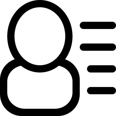 User info interface symbol with text lines at right side logo