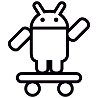 Android with Skateboard and Up Arm