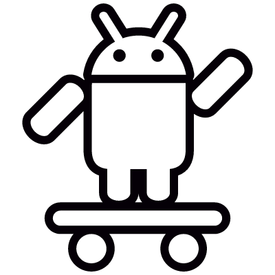 Android with Skateboard and Up Arm vector logo