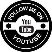 Follow me on Youtube social badge vector