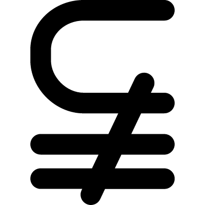Subset of above not equal mathematical symbol vector logo