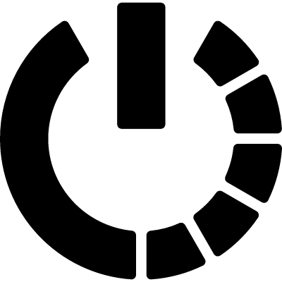 Power symbol variant with half circle of broken line logo