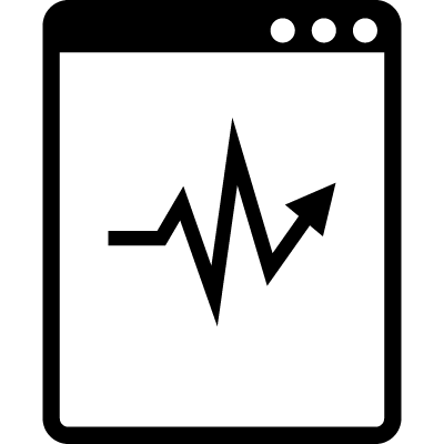 Lifeline or stocks line in a tablet monitor logo
