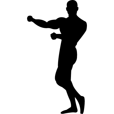 Gymnast silhouette showing muscles logo