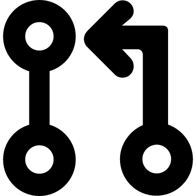 Connection of circles, line and arrow vector logo