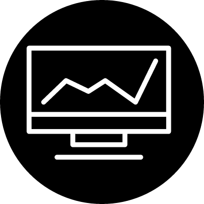 Line graphic on a monitor screen outline in a circle vector logo