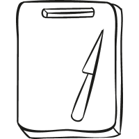 Cutting Board with Knife vector