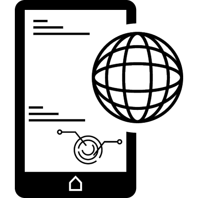 Mobile phone globally connected symbol vector logo