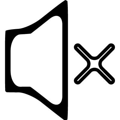 Mute audio speaker outline with a cross vector logo