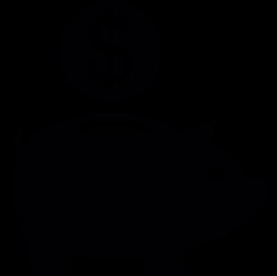 Saving a dollar coin vector logo