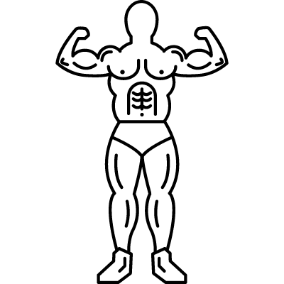 Gymnast in frontal view showing his muscles vector logo