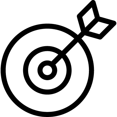 Target outline symbol in a circle vector logo