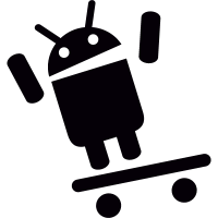 Android On Inclined Skateboard vector