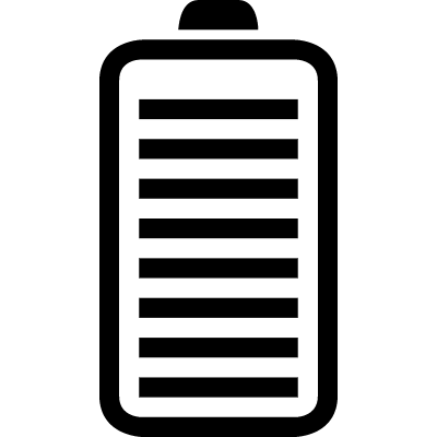 Full battery status interface symbol with stripes inside vector logo