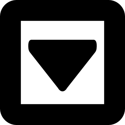 Down arrow triangle in a square of gross line vector logo