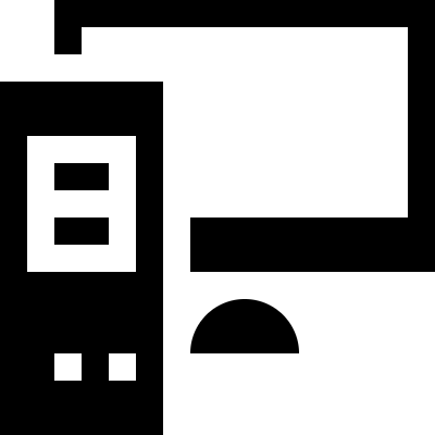 Computer tower and the monitor vector logo
