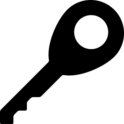 Key rotated to right interface symbol for security vector logo
