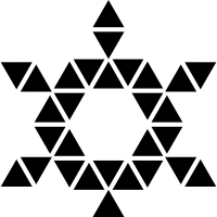 Star of six points formed by triangles with and hexagon center vector