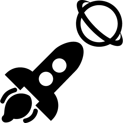 Spacecraft travelling close to saturn vector logo