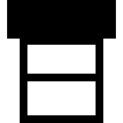 Three rectangles symbol of interface with one bigger and black vector logo