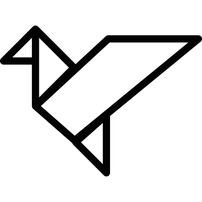 Bird in flight origami vector logo