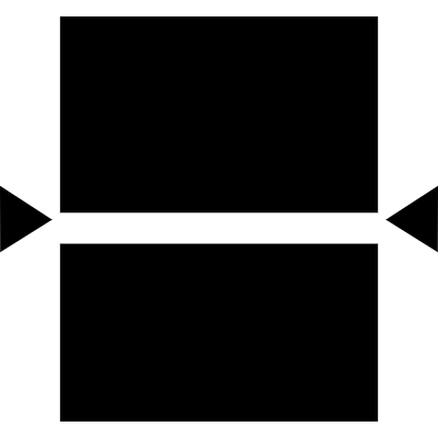 Two equal rectangles with arrows pointing the center vector logo