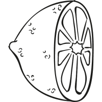Half lemon doodle vector