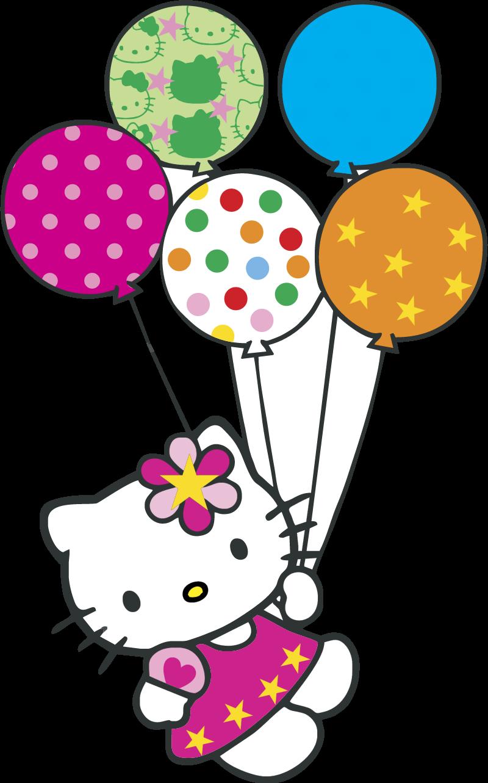 Hello Kitty con globitos vector