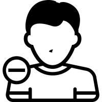 Male user with minus symbol for interface vector
